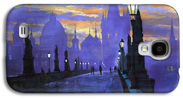 Street Paintings Galaxy S4 Cases - Prague Charles Bridge Sunrise Galaxy S4 Case by Yuriy  Shevchuk
