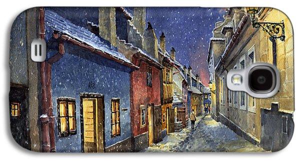 Winter Light Paintings Galaxy S4 Cases - Prague Golden Line Winter Galaxy S4 Case by Yuriy  Shevchuk