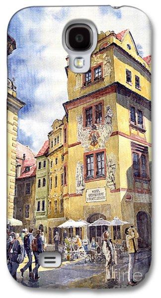 Prague Paintings Galaxy S4 Cases - Prague Karlova Street Hotel U Zlate Studny Galaxy S4 Case by Yuriy  Shevchuk