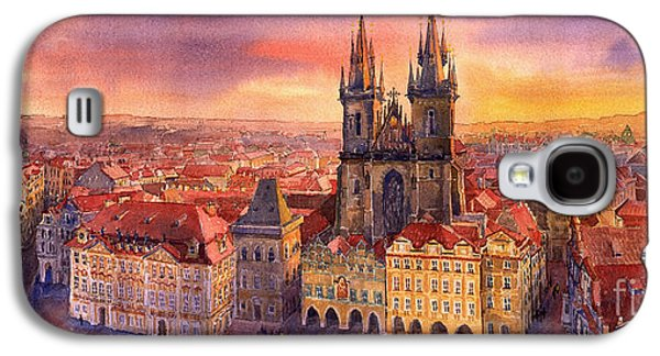 Town Paintings Galaxy S4 Cases - Prague Old Town Square 02 Galaxy S4 Case by Yuriy  Shevchuk