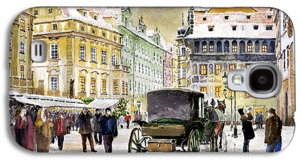 Town Paintings Galaxy S4 Cases - Prague Old Town Square Winter Galaxy S4 Case by Yuriy  Shevchuk