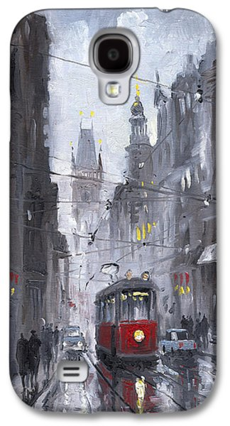Street Paintings Galaxy S4 Cases - Prague Old Tram 03 Galaxy S4 Case by Yuriy  Shevchuk