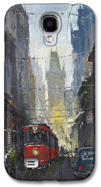 Street Paintings Galaxy S4 Cases - Prague Old Tram 05 Galaxy S4 Case by Yuriy  Shevchuk