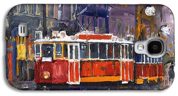 Night Paintings Galaxy S4 Cases - Prague Old Tram 09 Galaxy S4 Case by Yuriy  Shevchuk