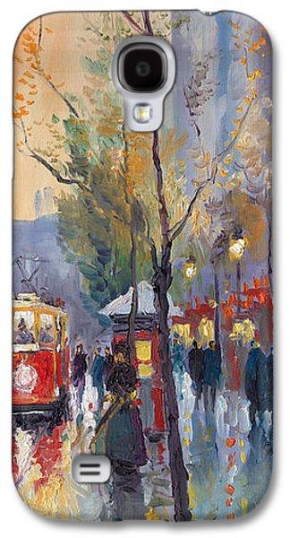 Night Paintings Galaxy S4 Cases - Prague Old Tram Vaclavske Square Galaxy S4 Case by Yuriy  Shevchuk