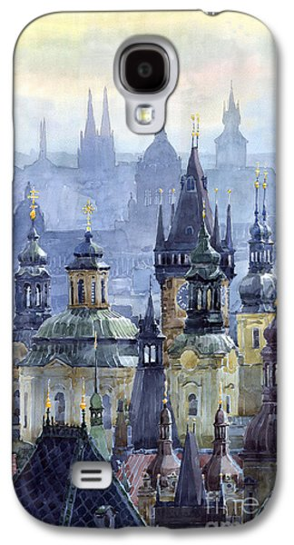 City Scenes Paintings Galaxy S4 Cases - Prague Towers Galaxy S4 Case by Yuriy  Shevchuk