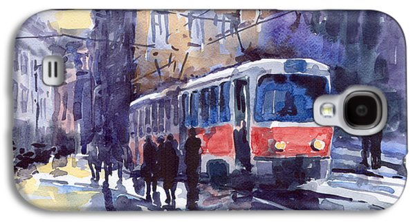 Prague Paintings Galaxy S4 Cases - Prague Tram 02 Galaxy S4 Case by Yuriy  Shevchuk
