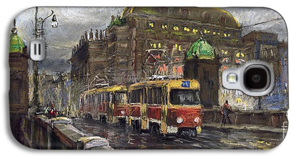 Architecture Pastels Galaxy S4 Cases - Prague Tram Legii Bridge National Theatre Galaxy S4 Case by Yuriy  Shevchuk