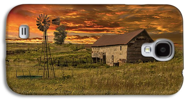 Pasture Scenes Galaxy S4 Cases - Prairie Barn Galaxy S4 Case by Jonas Wingfield