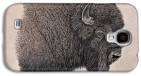 Bison Drawings Galaxy S4 Cases - Prairie Bison Galaxy S4 Case by Todd Huddle