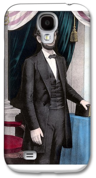 America Paintings Galaxy S4 Cases - President Abraham Lincoln In Color Galaxy S4 Case by War Is Hell Store