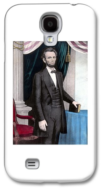 Abraham Lincoln Galaxy S4 Cases - President Abraham Lincoln In Color Galaxy S4 Case by War Is Hell Store