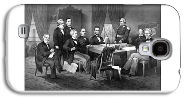 President Lincoln His Cabinet And General Scott Galaxy S4 Case by War Is Hell Store