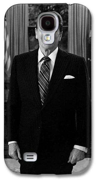 Reagan Galaxy S4 Cases - President Ronald Reagan In The Oval Office Galaxy S4 Case by War Is Hell Store