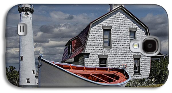 Landmarks Photographs Galaxy S4 Cases - Presque Isle Light Station on Lake Huron Galaxy S4 Case by Randall Nyhof