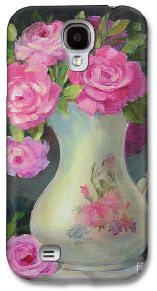 Old Pitcher Paintings Galaxy S4 Cases - Pretty and Pink Galaxy S4 Case by Sue Cervenka