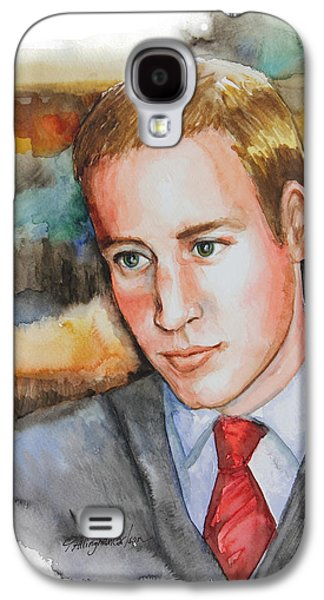 Kate Middleton Paintings Galaxy S4 Cases - Prince William Galaxy S4 Case by Patricia Allingham Carlson