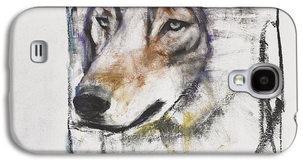 Animals Drawings Galaxy S4 Cases - Processo Al Lupo Galaxy S4 Case by Mark Adlington