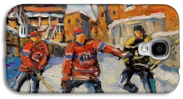 Canadian Sports Paintings Galaxy S4 Cases - Puck Control Hockey Kids created by Prankearts Galaxy S4 Case by Richard T Pranke