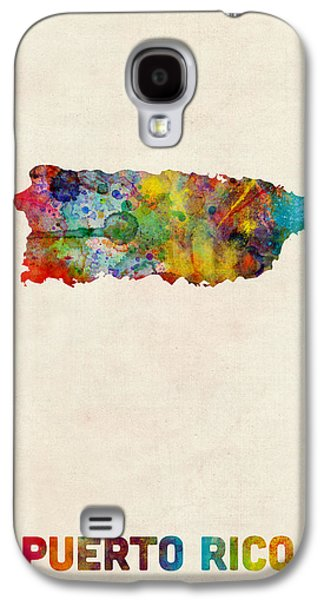 Puerto Rico Galaxy S4 Cases - Puerto Rico Watercolor Map Galaxy S4 Case by Michael Tompsett
