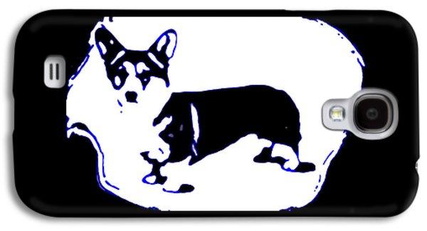 Puppy Digital Galaxy S4 Cases - Pup Art Corgi in Blue Galaxy S4 Case by Heather Joyce Morrill