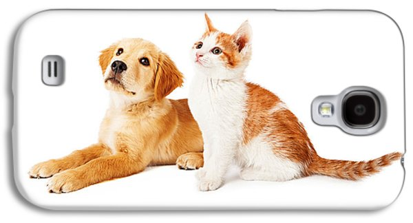 Puppies Galaxy S4 Cases - Puppy and Kitten Looking to Side Galaxy S4 Case by Susan  Schmitz