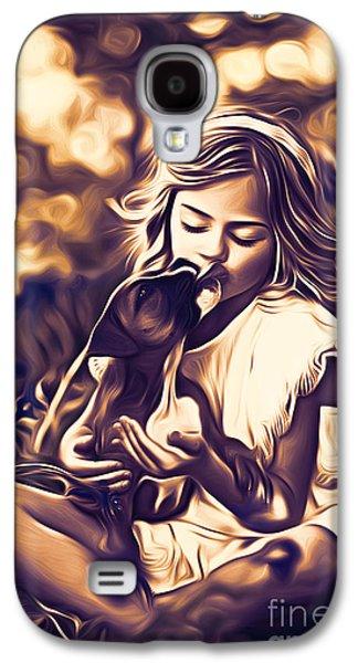 Puppy Digital Art Galaxy S4 Cases - Puppy Love Galaxy S4 Case by Larry Espinoza