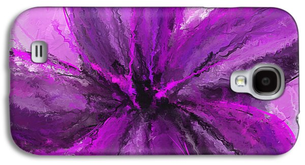 Purple Art Galaxy S4 Cases - Purple And Gray Art Galaxy S4 Case by Lourry Legarde