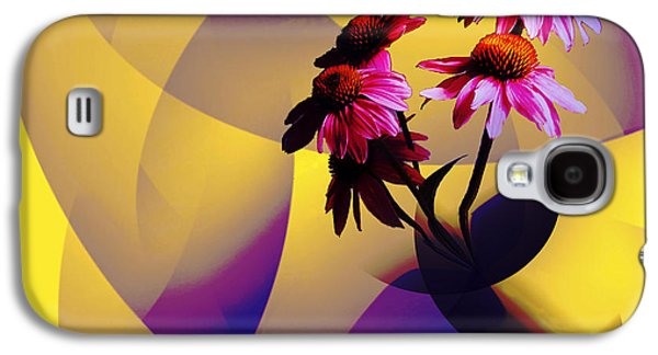 Abstracted Coneflowers Digital Galaxy S4 Cases - Purple Coneflowers Galaxy S4 Case by Patricia Motley