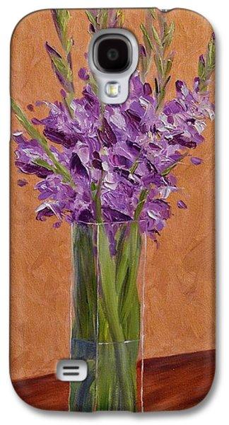 Gladiolas Paintings Galaxy S4 Cases - Purple Gladiolas Galaxy S4 Case by Sara Schwartz