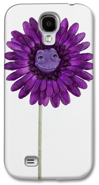 Floral Sculptures Galaxy S4 Cases - Purple happy flower Galaxy S4 Case by Michael Palmer