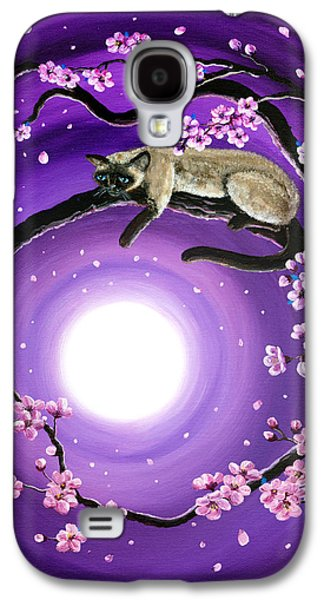 Cherry Blossoms Paintings Galaxy S4 Cases - Purple Moonlight Sakura Galaxy S4 Case by Laura Iverson