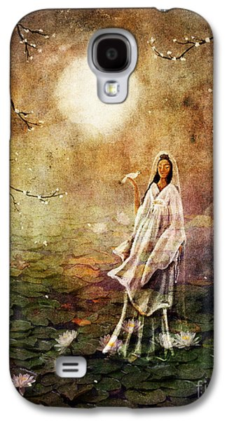 Cherry Blossoms Digital Art Galaxy S4 Cases - Quan Yin in a Lotus Pond Galaxy S4 Case by Laura Iverson