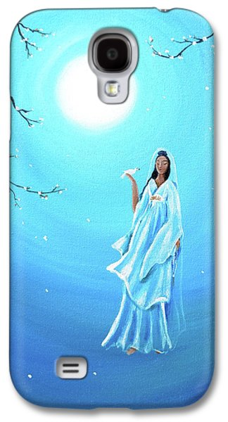 Cherry Blossoms Galaxy S4 Cases - Quan Yin in Teal Moonlight Galaxy S4 Case by Laura Iverson