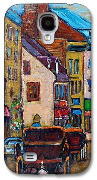Quebec Streets Paintings Galaxy S4 Cases - Quebec City Street Scene  Caleche Ride Galaxy S4 Case by Carole Spandau