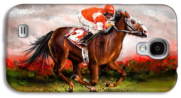 Horse Racing Galaxy S4 Cases - Quest For The Win - Horse Racing Art Galaxy S4 Case by Lourry Legarde