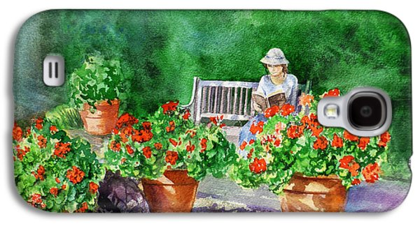 Novel Paintings Galaxy S4 Cases - Quiet Moment Reading In The Garden Galaxy S4 Case by Irina Sztukowski