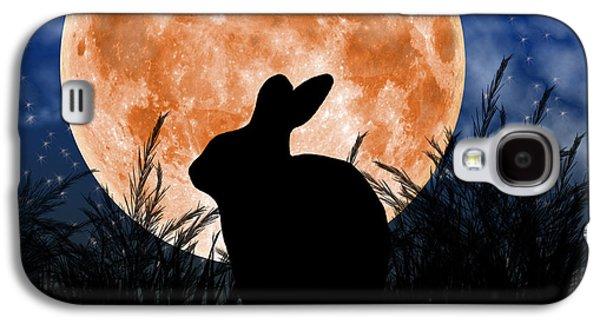 Rabbit Digital Galaxy S4 Cases - Rabbit Under the Harvest Moon Galaxy S4 Case by Elizabeth Alexander