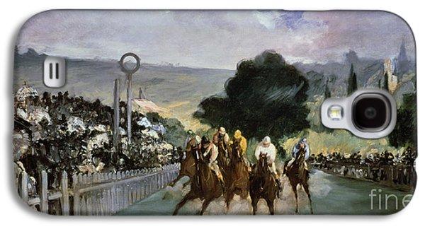 Jockeys Galaxy S4 Cases - Races at Longchamp Galaxy S4 Case by Edouard Manet