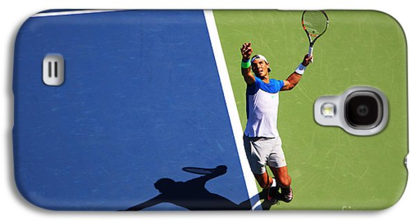 Sports Photographs Galaxy S4 Cases - Rafeal Nadal Tennis Serve Galaxy S4 Case by Nishanth Gopinathan