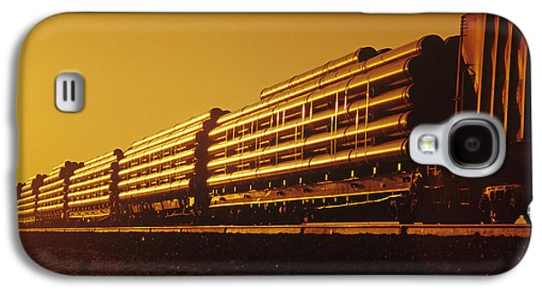 Colour Image Photographs Galaxy S4 Cases - Rail Car Train Carrying Steel Pipe Galaxy S4 Case by Dave Reede