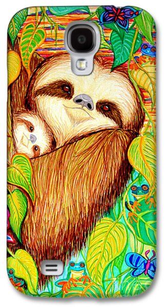 Sloth Drawings Galaxy S4 Cases - Rain Forest Survival Mother and Baby Three Toed Sloth Galaxy S4 Case by Nick Gustafson