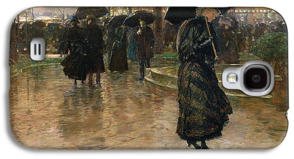 People Galaxy S4 Cases - Rain Storm Union Square Galaxy S4 Case by Childe Hassam