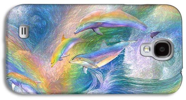 Rainbow Dolphins Galaxy S4 Case by Carol Cavalaris