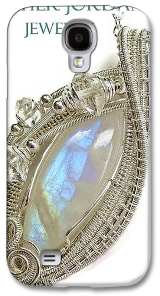 Jordan Jewelry Galaxy S4 Cases - Rainbow Moonstone and Sterling Silver Wire-Wrapped Pendant with Herkimer Diamonds MNSTPSS4 Galaxy S4 Case by Heather Jordan