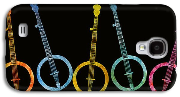Digital Collage Galaxy S4 Cases - Rainbow of Banjos Galaxy S4 Case by Jenny Armitage