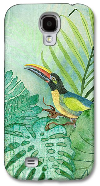 Rainforest Tropical - Tropical Toucan W Philodendron Elephant Ear And Palm Leaves Galaxy S4 Case by Audrey Jeanne Roberts