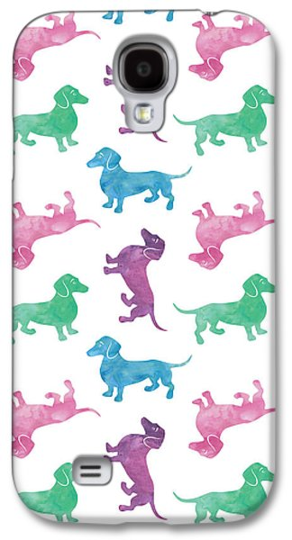 Dogs Galaxy S4 Cases - Raining Dachshunds Galaxy S4 Case by Antique Images