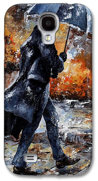Young Mixed Media Galaxy S4 Cases - Rainy day/07 - Walking in the rain Galaxy S4 Case by Emerico Imre Toth