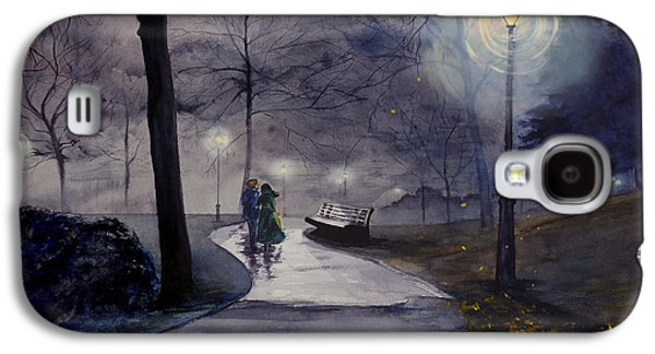 Park Scene Drawings Galaxy S4 Cases - Rainy Night in Central Park Galaxy S4 Case by Jill Westbrook